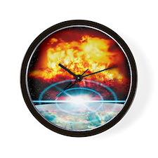 Asteroid striking Earth Wall Clock