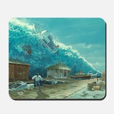 Artwork of a tsunami destroying a small  Mousepad