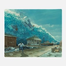 Artwork of a tsunami destroying a sm Throw Blanket