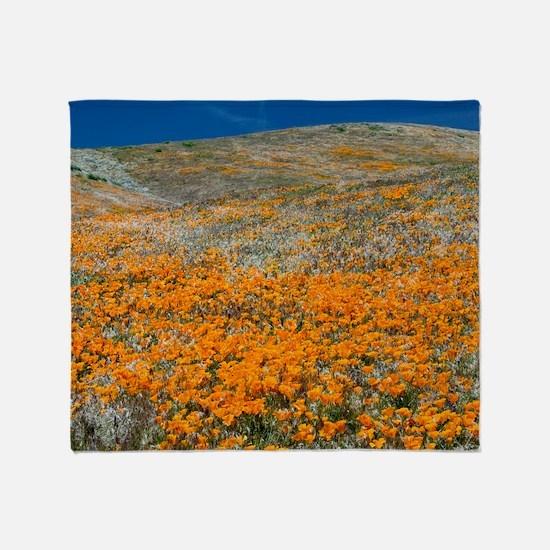 Californian Poppies (Eschscholzia) Throw Blanket