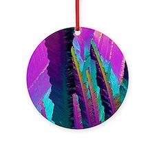 Caffeine crystals, light micrograph Round Ornament
