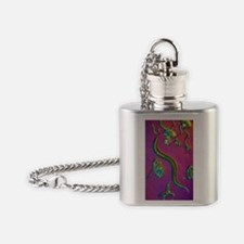 C. elegans worms, light micrograph Flask Necklace