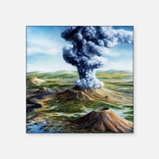 "Ancient volcanic eruption Square Sticker 3"" x 3"""