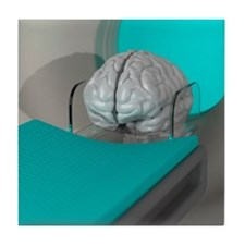 Brain scan, conceptual artwork Tile Coaster