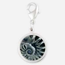 Ammonite fossil Silver Round Charm