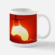Boeing 737 taking off at sunset Mug