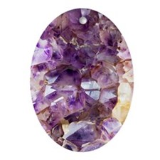 Amethyst crystals Oval Ornament