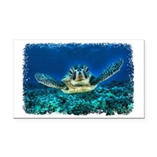 Aquatic Sea Turtle Rectangle Car Magnet