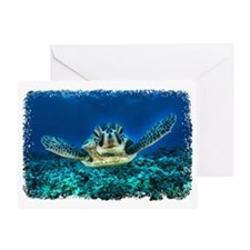 Aquatic Sea Turtle Greeting Card