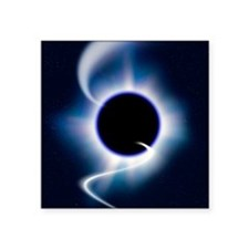 """Black hole and infalling ma Square Sticker 3"""" x 3"""""""