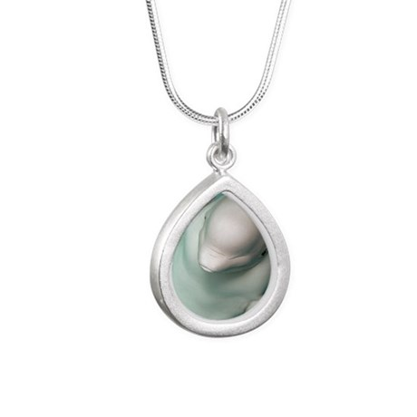 Beluga whale, Delphinapt Silver Teardrop Necklace