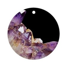 Amethyst crystals Round Ornament