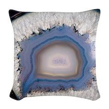 Agate, artificially coloured Woven Throw Pillow
