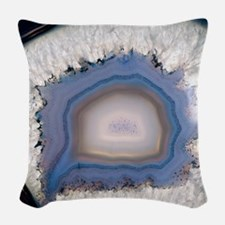 Agate, artificially coloured Woven Throw Pillow