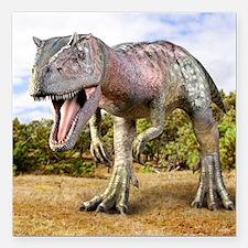 """Allosaurus dinosaur, art Square Car Magnet 3"""" x 3"""""""