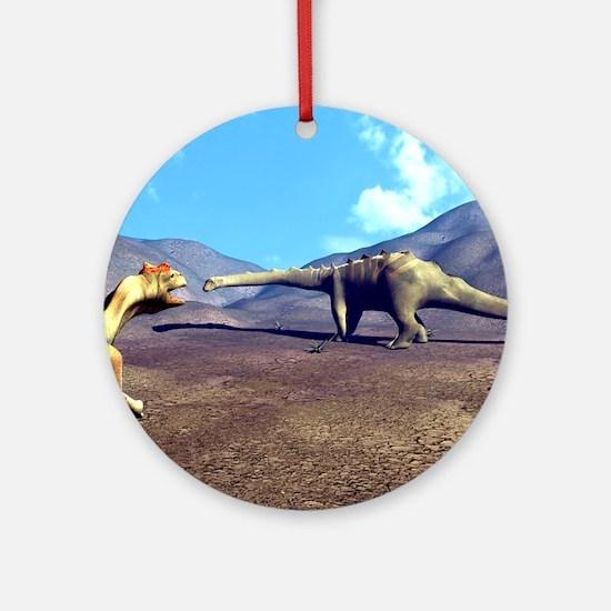 Allosaurus and Diplodocus Round Ornament
