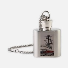 Armed military jet on aircraft carr Flask Necklace