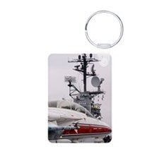 Armed military jet on airc Keychains