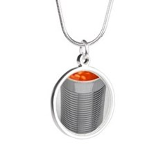 Baked beans in a can Silver Round Necklace