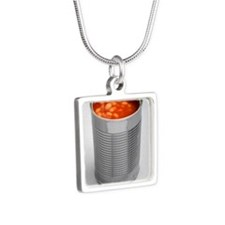 Baked beans in a can Silver Square Necklace