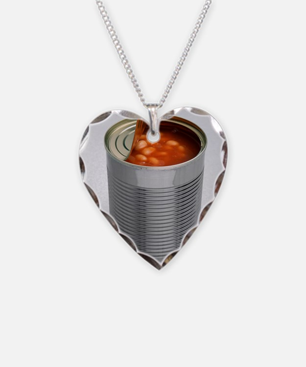 Baked beans in a can Necklace Heart Charm