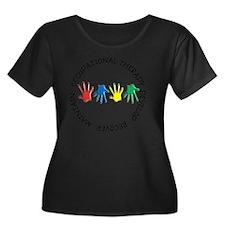 OT CIRCL Women's Plus Size Dark Scoop Neck T-Shirt
