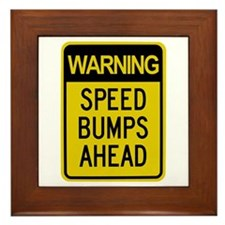 Speed Bumps Ahead Road Sign Framed Tile