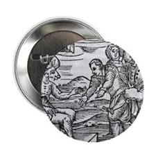 """Arriving in Hell, 17th century woodcu 2.25"""" Button"""