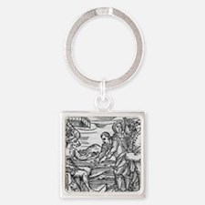 Arriving in Hell, 17th century woo Square Keychain