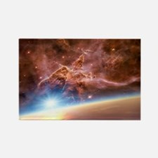 Asteroid and alien planet, artwor Rectangle Magnet