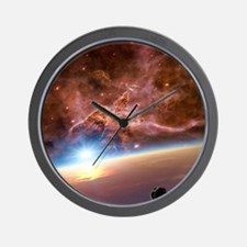 Asteroid and alien planet, artwork Wall Clock