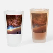 Asteroid and alien planet, artwork Drinking Glass