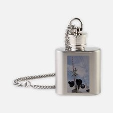 American railroad crossing Flask Necklace