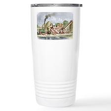 19th Century Steam Thrashing Ma Travel Mug