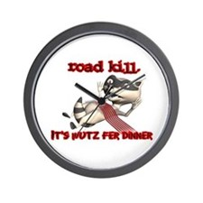 Racoon Road Kill for Dinner Wall Clock