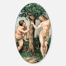1863 Adam and Eve from zoology text Sticker (Oval)