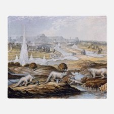 1854 Crystal Palace Dinosaurs by Bax Throw Blanket