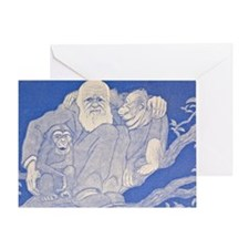 1909 Cartoon Darwin with Apes detail Greeting Card
