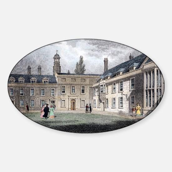 1838 Darwin's Christ's college room Sticker (Oval)