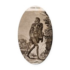 1838 Cave Man engraving 'L'Homme F Oval Car Magnet