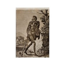 1838 Cave Man engraving 'L'Homme  Rectangle Magnet
