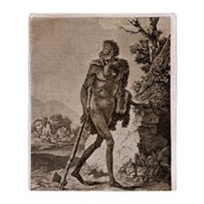 1838 Cave Man engraving 'L'Homme Fos Throw Blanket