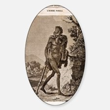 1838 Cave Man engraving 'L'Homme Fo Sticker (Oval)