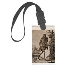 1838 Cave Man engraving 'L'Homme Luggage Tag