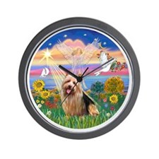 R-AutumnAngel-AussieTerrier1 Wall Clock