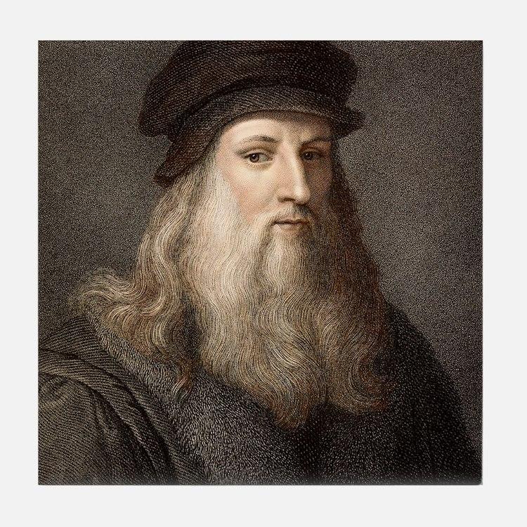 1490 Leonardo Da Vinci colour portrai Tile Coaster