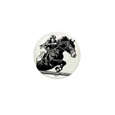AFTM BW Jumping Horse Mini Button