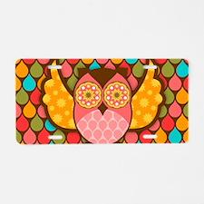 Owl Boheme Pink Aluminum License Plate