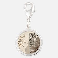 1516 amphisbaenid Pliny's Natu Silver Round Charm