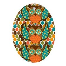 Owl Boheme Brown Oval Ornament